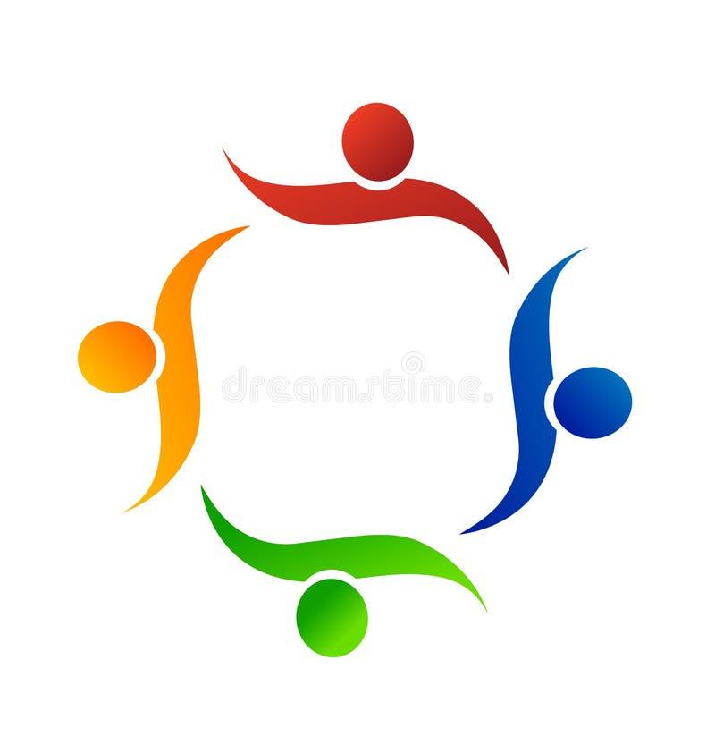 Gente del trabajo en equipo que ayuda a uno otro, vector del icono stock de ilustración