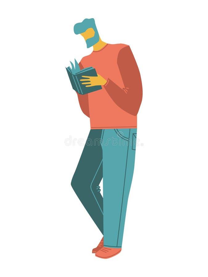 Gente del vector de la historieta un hombre con una barba que lee un libro la gente casual aislada vector el ejemplo en los color stock de ilustración