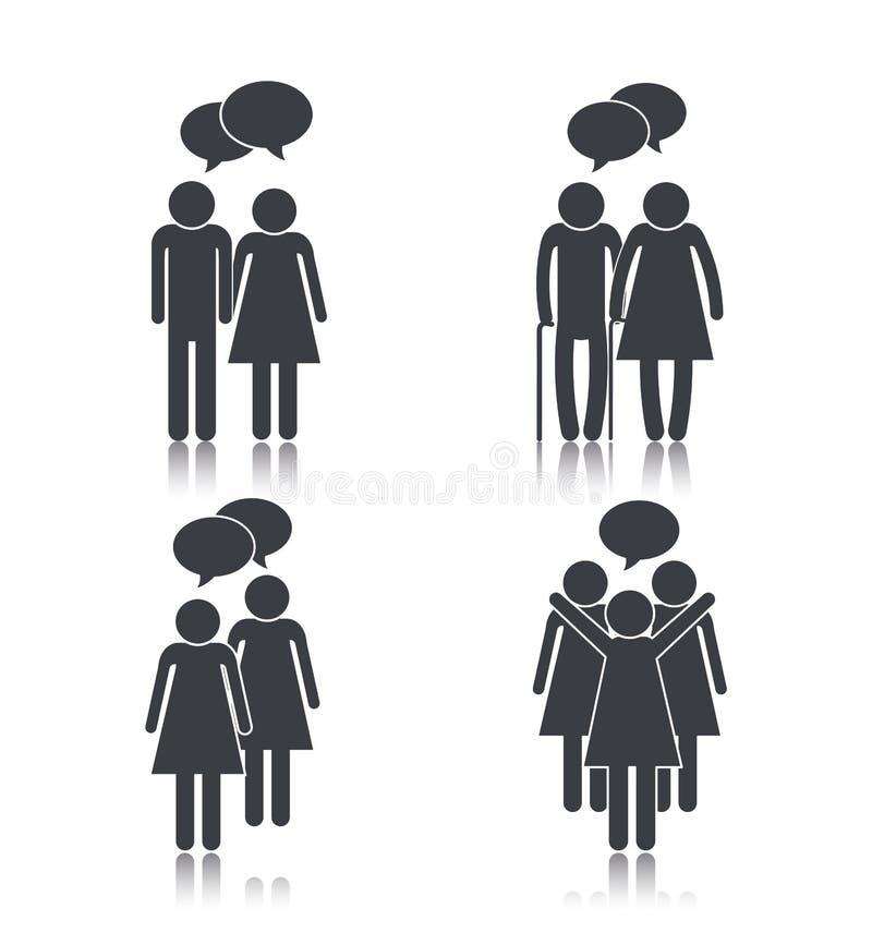 Gente determinada con el mensaje social de las burbujas de la charla ilustración del vector