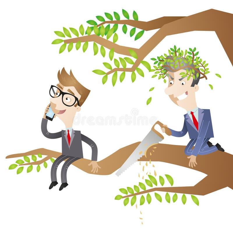Gente di affari, albero, segante royalty illustrazione gratis