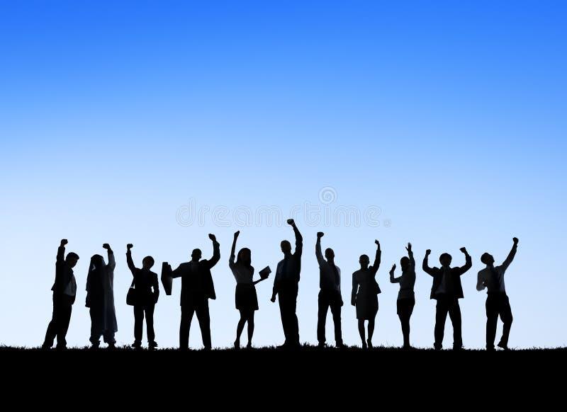 Gente di affari all'aperto che incontra Team Teamwork Support Concept immagini stock libere da diritti