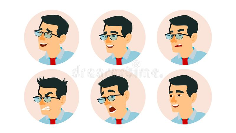 Gente di affari asiatica di vettore dell'avatar del carattere Fronte asiatico dell'uomo, emozioni fissate Segnaposto creativo del illustrazione vettoriale