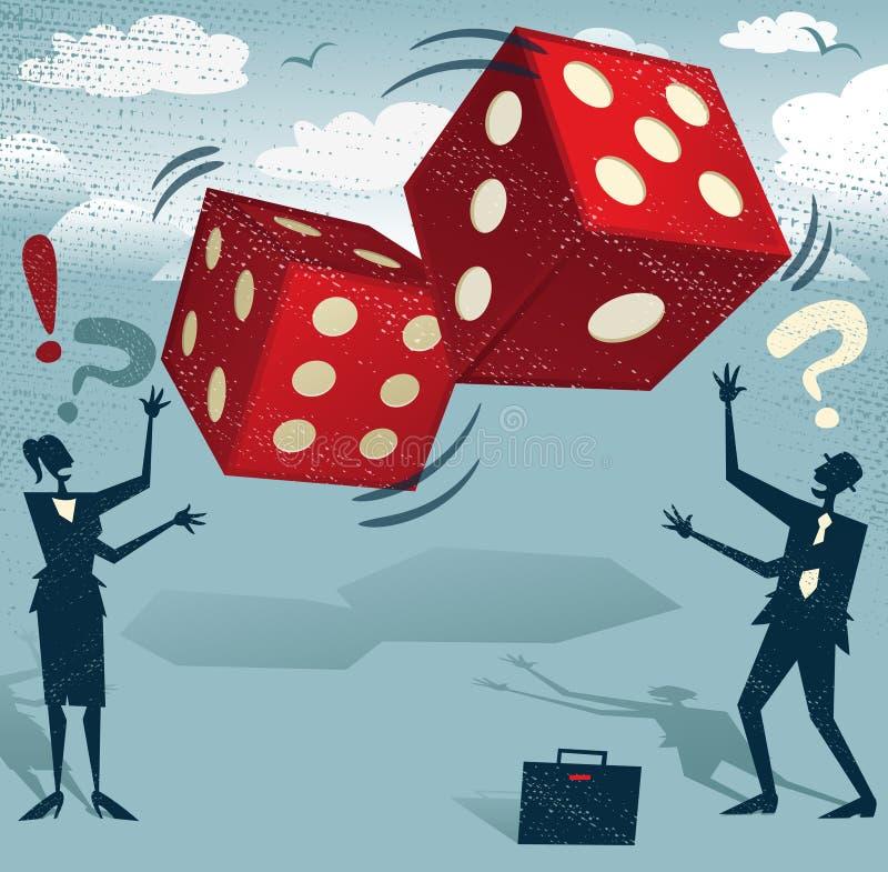 Gente di affari astratta con i dadi di gioco di fortuna illustrazione vettoriale