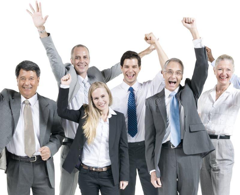 Gente di affari di celebrazione di concetto corporativo di successo fotografia stock libera da diritti