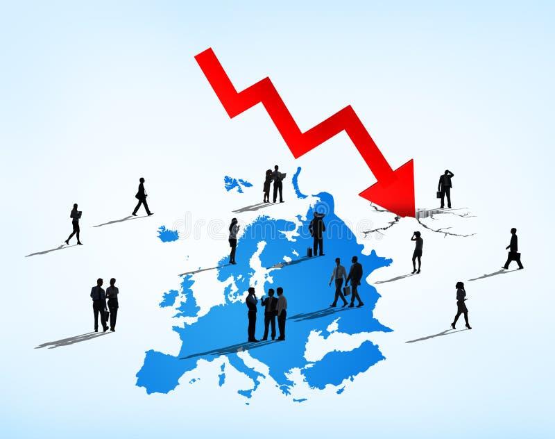 Gente di affari che affronta crisi europea di debito illustrazione di stock