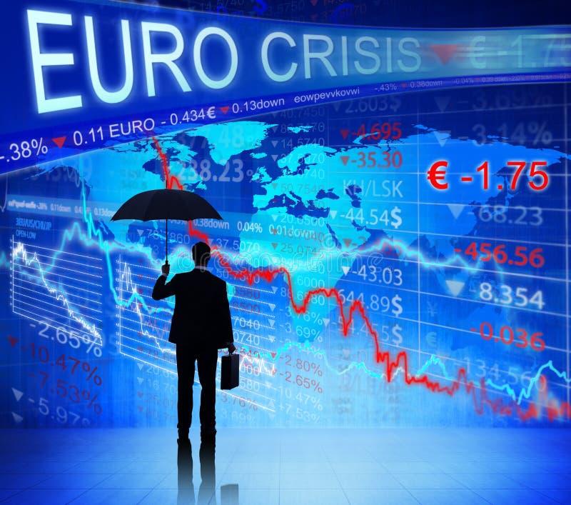 Gente di affari che affronta euro crisi fotografia stock