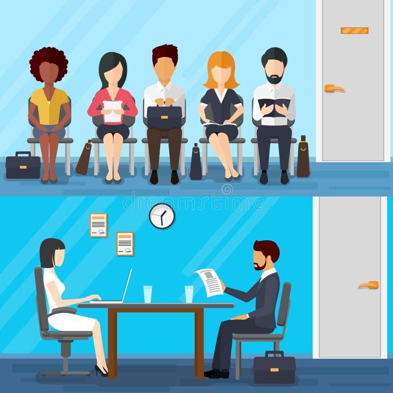 Gente di affari che aspetta intervista di lavoro Vettore royalty illustrazione gratis