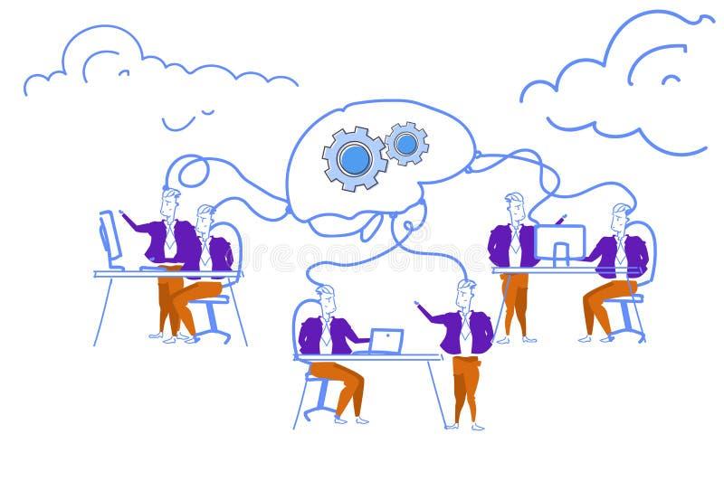Gente di affari che confronta le idee gli uomini creativi trattati del meccanismo della ruota dentata del cervello della rete che royalty illustrazione gratis