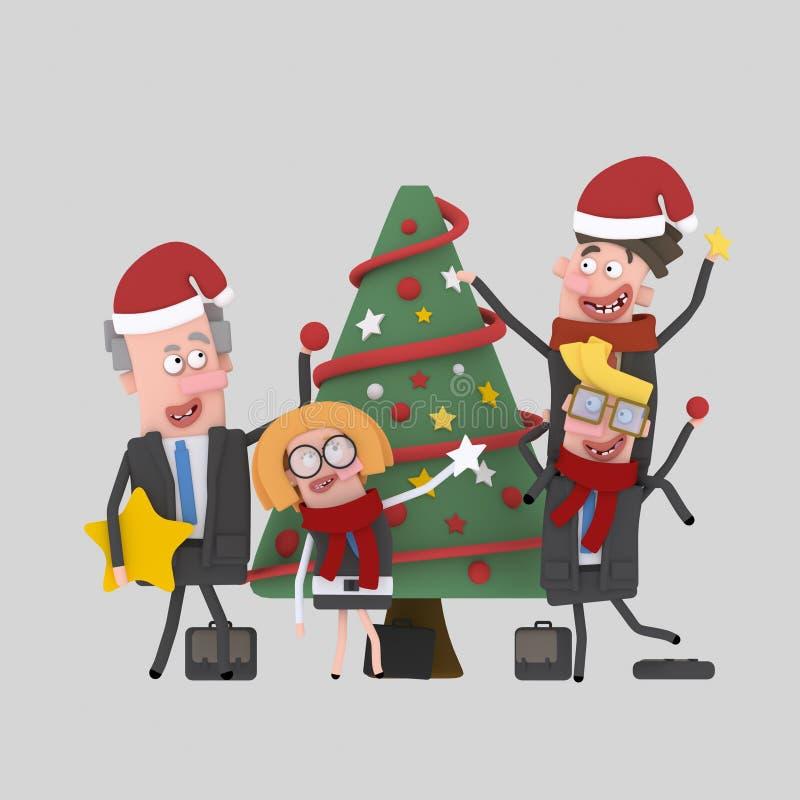 Gente di affari che decora l'albero di natale 3d royalty illustrazione gratis