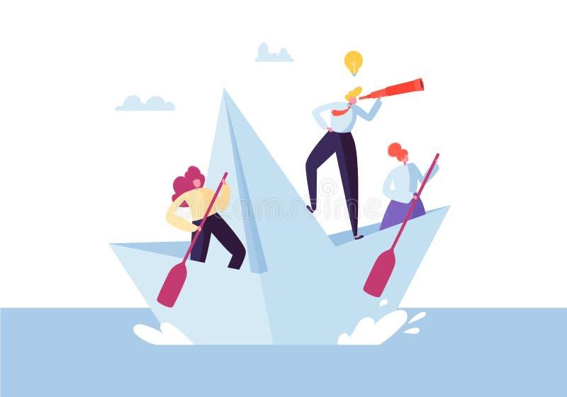 Gente di affari che galleggia su una nave di carta Caratteri piani con la navigazione del cannocchiale sulle barche Team Work Lea royalty illustrazione gratis