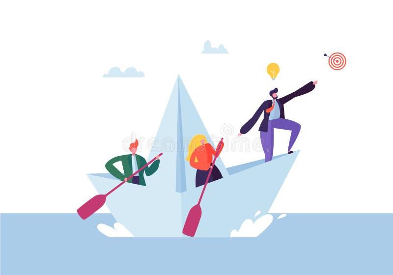 Gente di affari che galleggia su una nave di carta Caratteri piani con la navigazione del cannocchiale sulle barche Team Work Lea illustrazione di stock