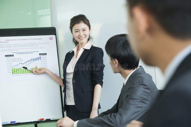 Gente di affari che ha riunione, facente una presentazione immagine stock libera da diritti