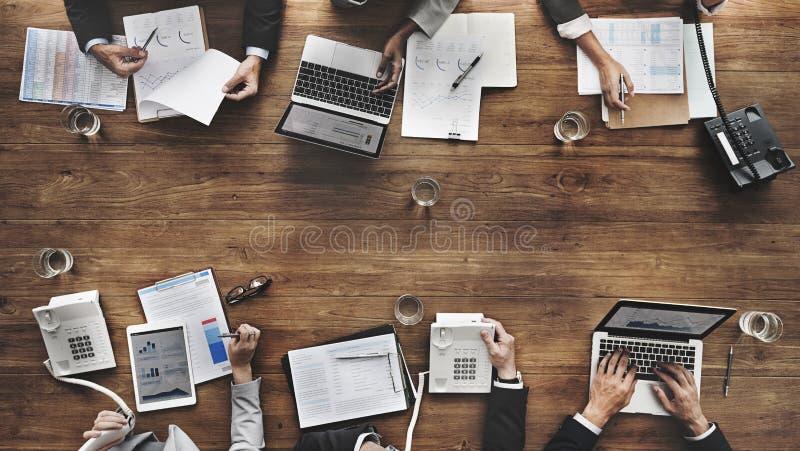 Gente di affari che incontra concetto economico dell'obiettivo di successo di crescita immagini stock