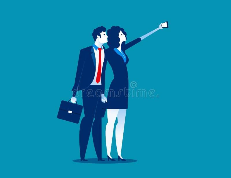 Gente di affari che prende selfie Illustrazione di vettore di affari di concetto royalty illustrazione gratis