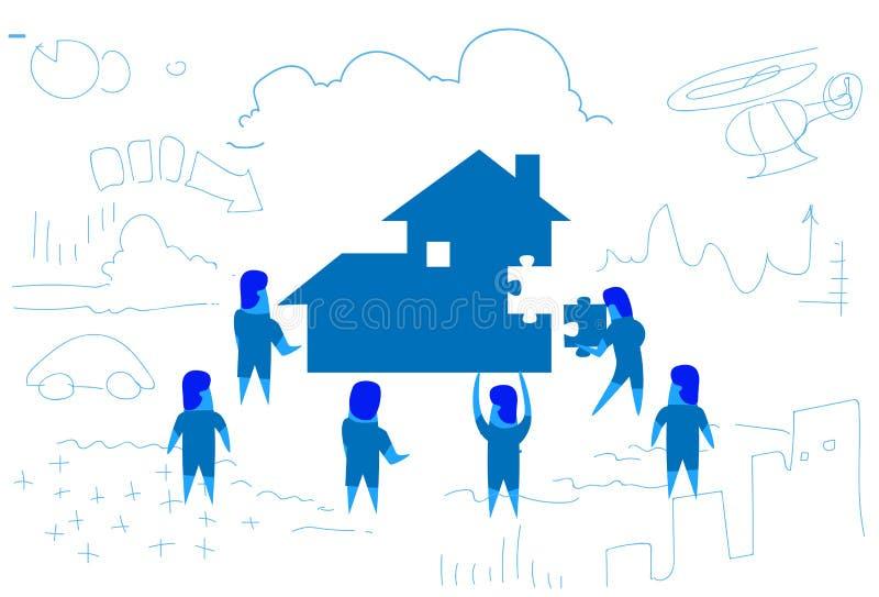 Gente di affari che risolve puzzle che fa casa costruzione per dirigersi lavoro di squadra di concetto del corredo che lavora sca royalty illustrazione gratis