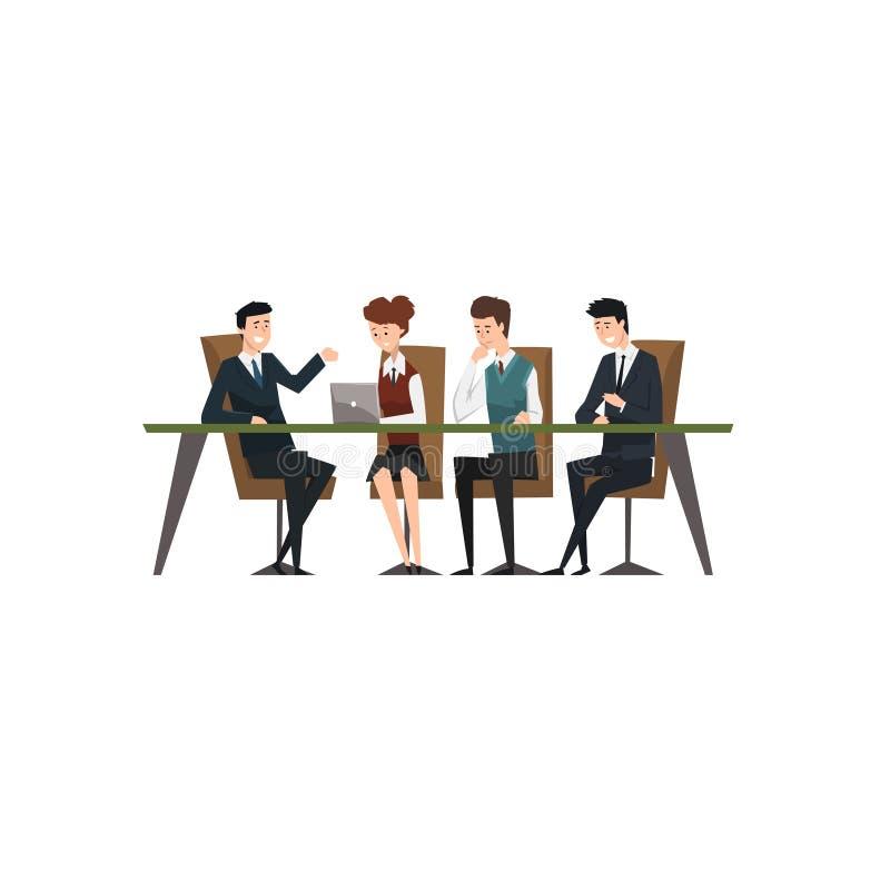 Gente di affari che scambiano le idee ed esperienza all'ufficio, riunione d'affari e lavoro di squadra, vettore coworking della g royalty illustrazione gratis