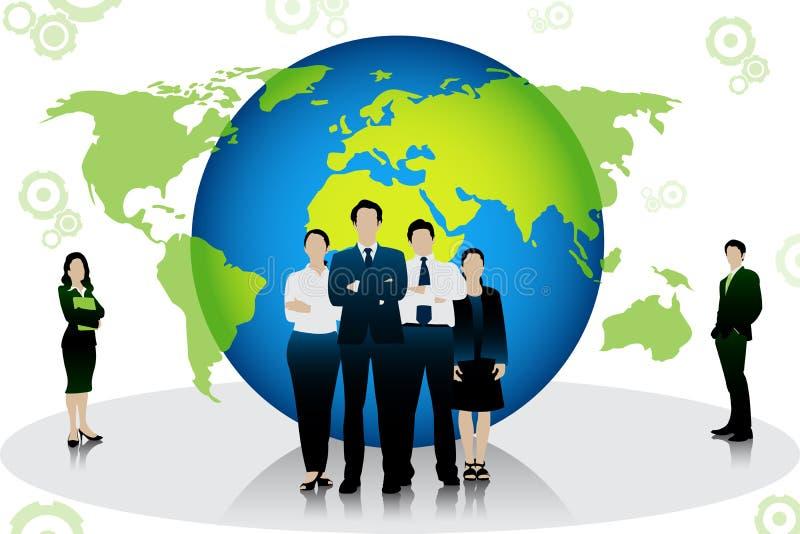 Gente di affari che sta davanti al globo illustrazione vettoriale