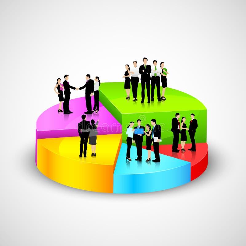 Gente di affari che sta sopra il grafico a settori illustrazione di stock