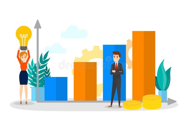 Gente di affari che sta su un grafico alto in aumento royalty illustrazione gratis