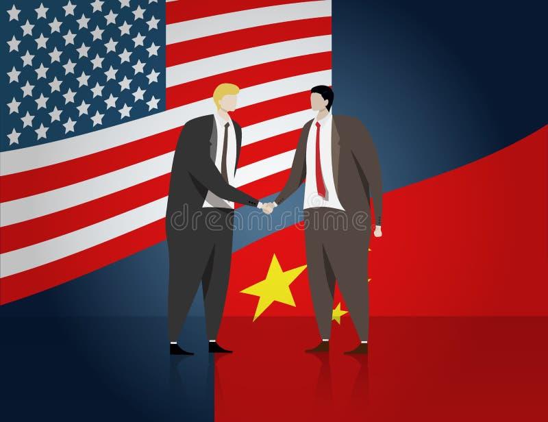 Gente di affari che stringe mano per fare un affare dell'affare, bandiera di U.S.A. e la Cina a fondo U.S.A. e politico bilateral illustrazione di stock