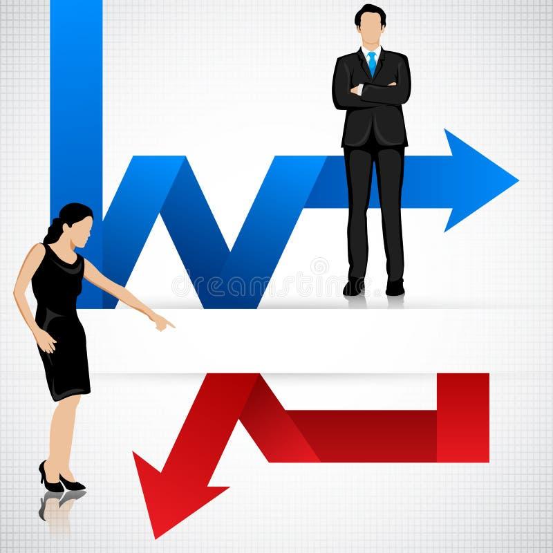 Gente di affari con la freccia profitti e perdite illustrazione di stock