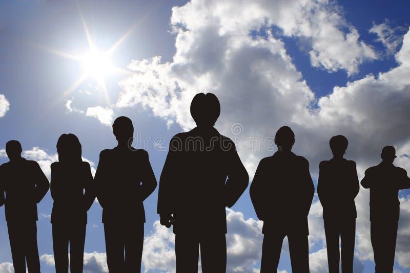 Gente di affari con la siluetta della guida illustrazione di stock