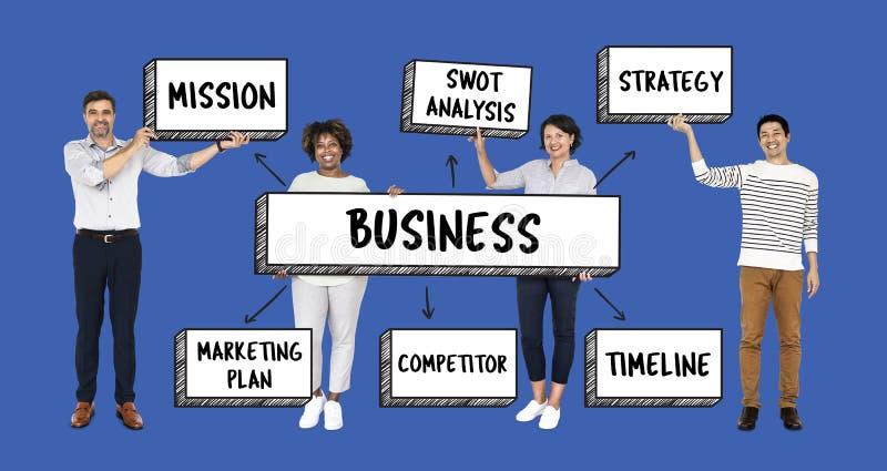 Gente di affari con un piano strategico illustrazione vettoriale