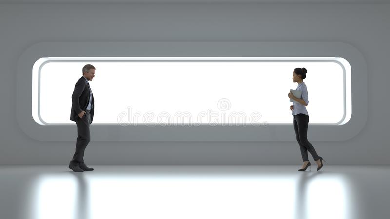 Gente di affari davanti ad un'ampia finestra illustrazione vettoriale