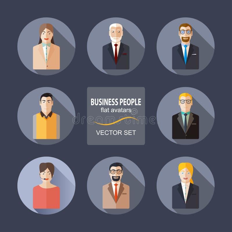 Gente di affari degli avatar dell'insieme piano di vettore royalty illustrazione gratis