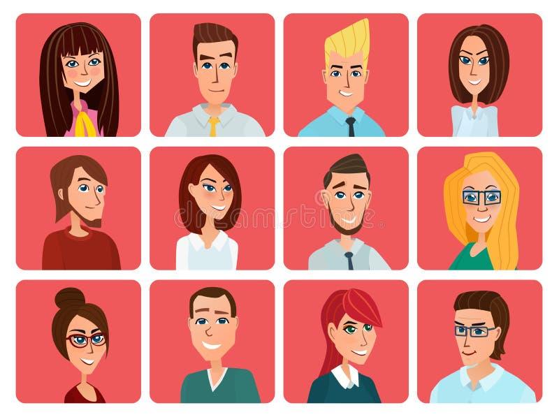 Gente di affari degli avatar piani Affare delle donne e degli uomini e casuale illustrazione vettoriale