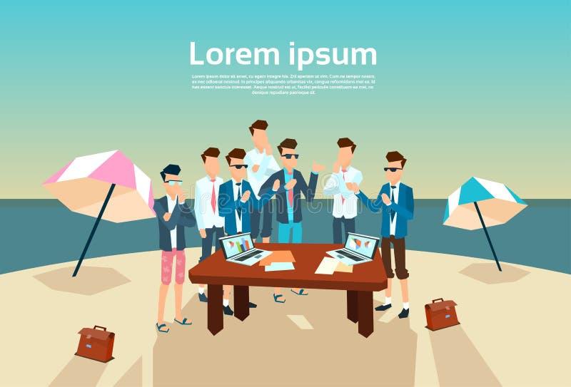 Gente di affari del gruppo della scrivania di estate di lavoro della spiaggia illustrazione di stock