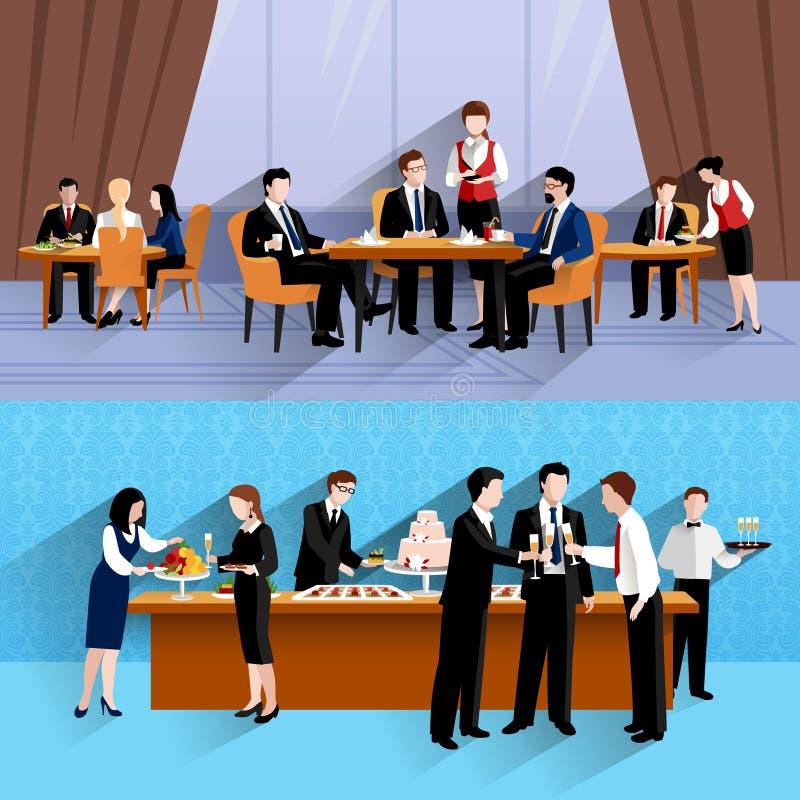 Gente di affari del pranzo 2 della composizione nelle insegne illustrazione di stock