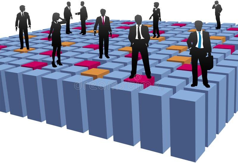 Gente di affari dell'azienda della squadra del lavoro dei cubi dell'estratto illustrazione vettoriale