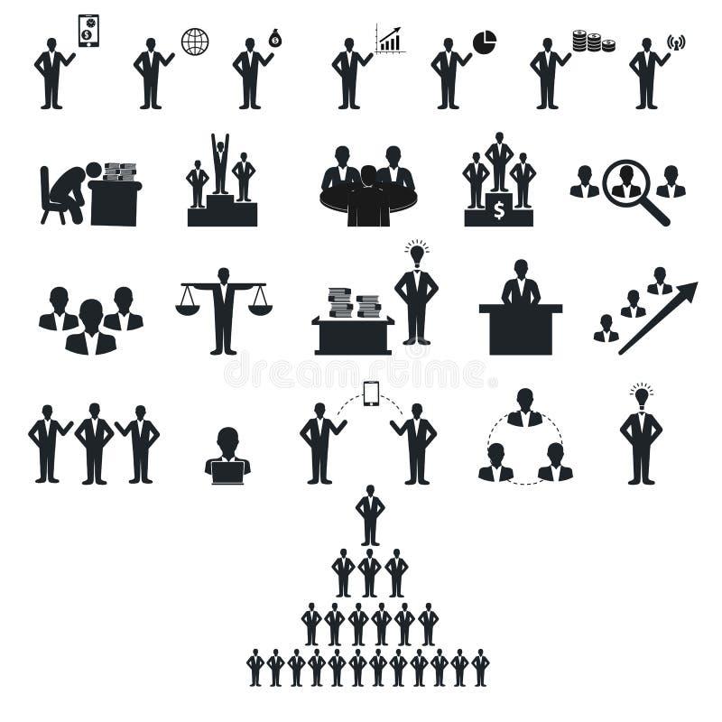 Gente di affari della figura nera del bastone illustrazione di stock