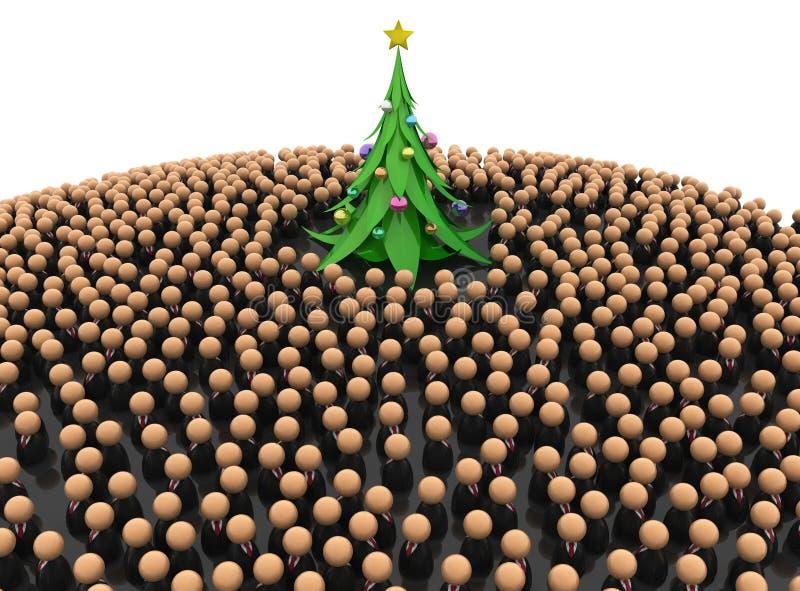 Gente di affari della folla, albero del nuovo anno illustrazione di stock