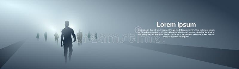 Gente di affari della siluetta del gruppo che rende passo avanti integrale sopra Grey Light Background illustrazione vettoriale