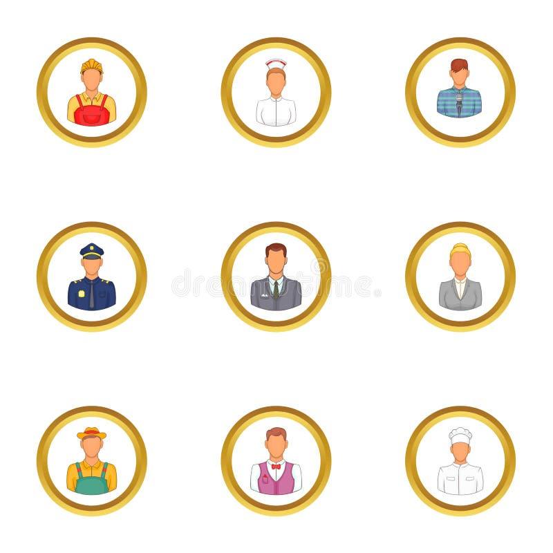 Gente di affari delle icone messe, stile del fumetto illustrazione di stock