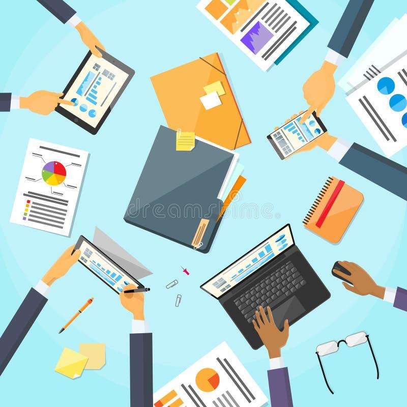 Download Gente Di Affari Delle Mani Del Posto Di Lavoro Team Working Dello Scrittorio Illustrazione Vettoriale - Illustrazione di piano, commercio: 56882470