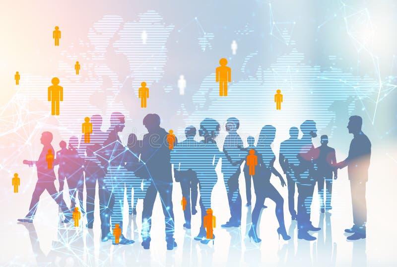 Gente di affari delle siluette, mondo globale illustrazione di stock