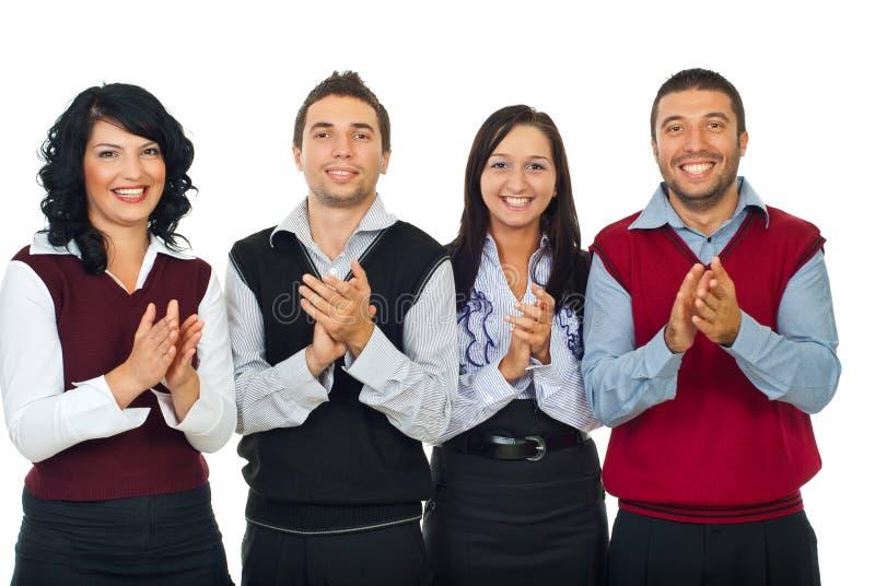 Gente di affari di applauso della squadra fotografia stock libera da diritti