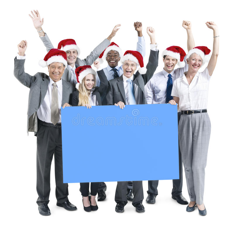 Gente di affari di celebrazione dell'insegna della copia dello spazio di concetto di Natale immagine stock libera da diritti