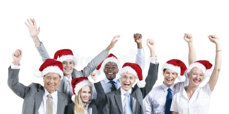 Gente di affari di celebrazione di felicità di concetto sorridente di Natale immagine stock libera da diritti