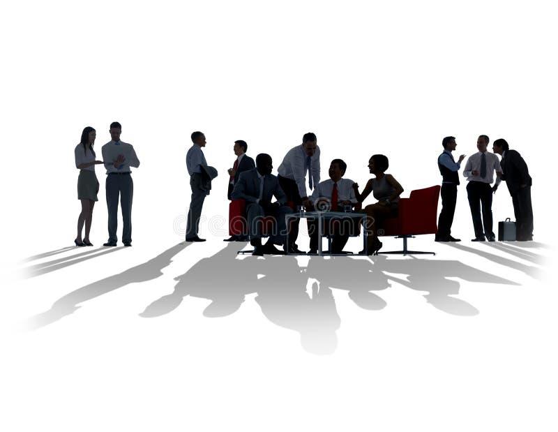 Gente di affari di discussione della siluetta di riunione di comunicazione immagini stock