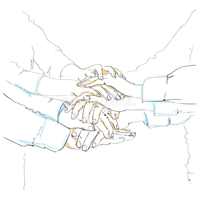 Gente di affari di schizzo del mucchio del gruppo delle mani royalty illustrazione gratis
