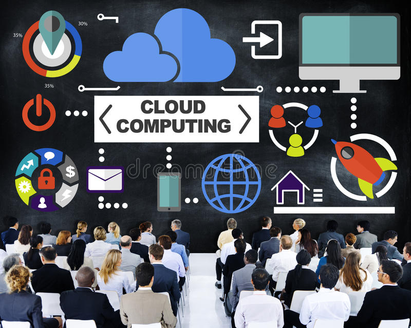 Gente di affari di seminario della nuvola delle comunicazioni globali che computa il Co illustrazione vettoriale