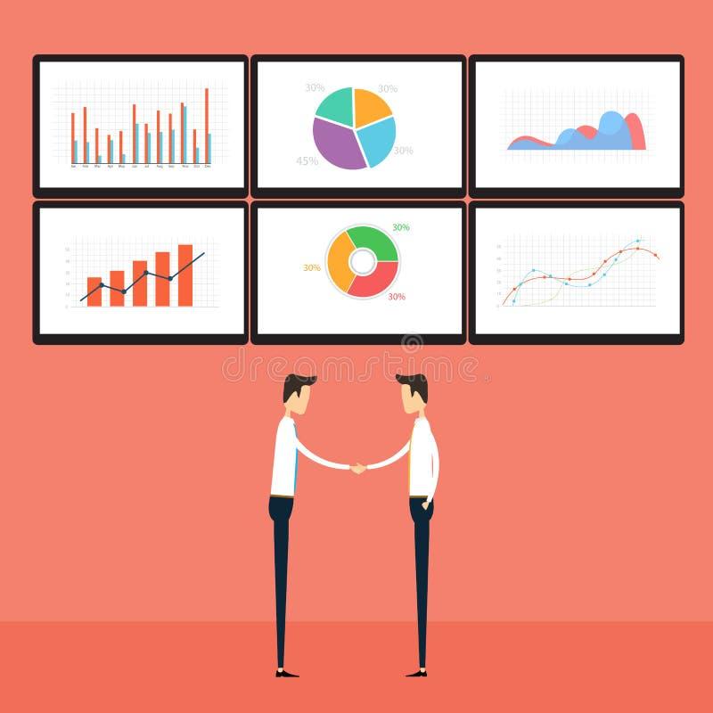 Gente di affari di successo sul monitor del grafico commerciale royalty illustrazione gratis