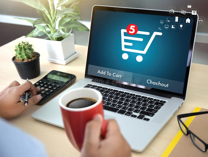 Gente di affari di uso di tecnologia di Internet Marketi globale di commercio elettronico fotografie stock libere da diritti