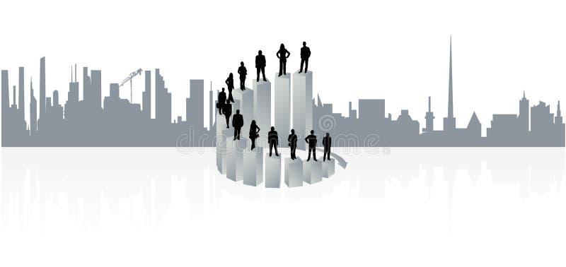 Gente di affari e città illustrazione vettoriale