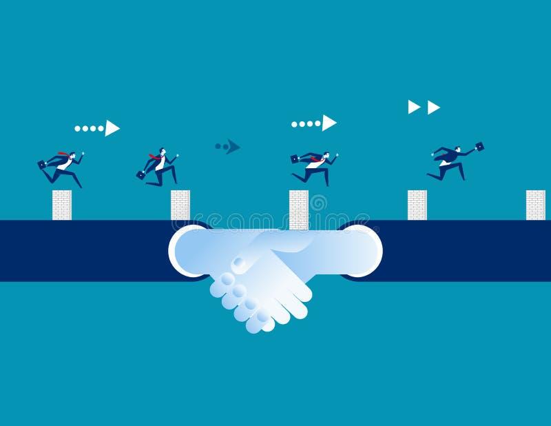Gente di affari e partner che conquistano forza maggiore Illustrazione di vettore di affari di concetto, concorrenza illustrazione vettoriale