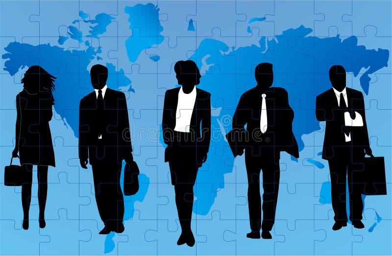 Gente di affari e mappa fotografia stock